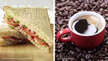Bildkombo Sandwich und Kaffee
