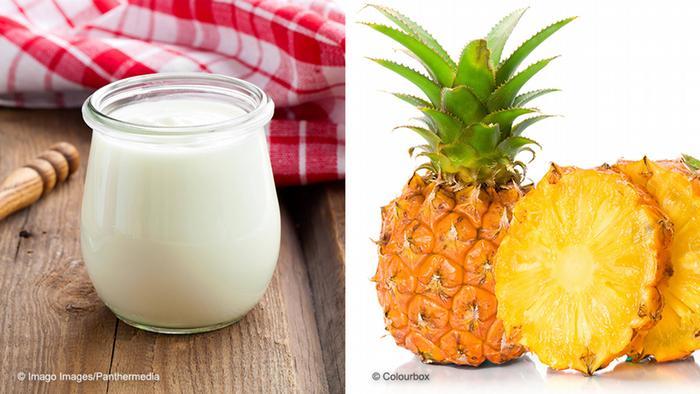 Bildkombo Joghurt und Ananas