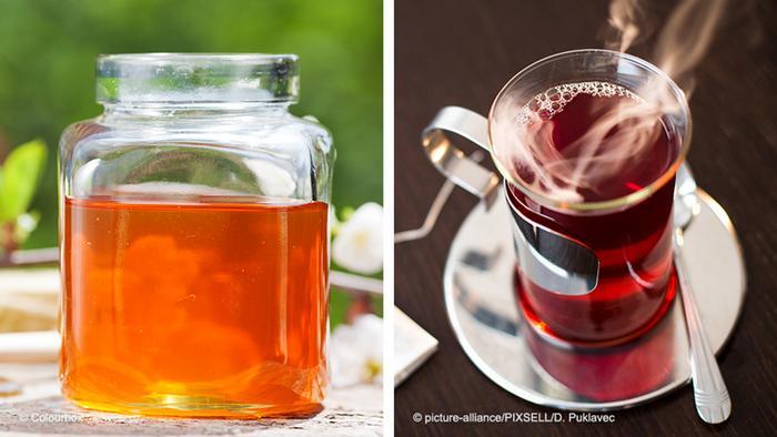 Bildkombo Honig und Tee