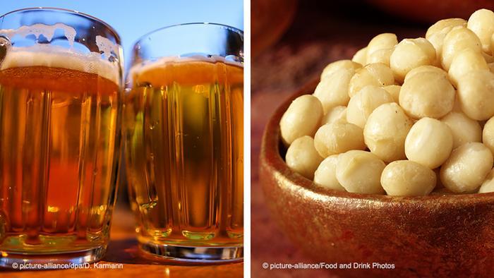 Bildkombo Bier und Nüsse