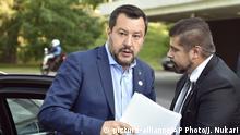 18.7.2019, Helsinki, Finnland, Italy's Interior Minister and Deputy Premier Matteo Salvini arrives to the Informal Meeting of EU Ministers for Home Affairs in Helsinki, Finland on Thursday, July 18, 2019. (Jussi Nukari/Lehtikuva via AP)  
