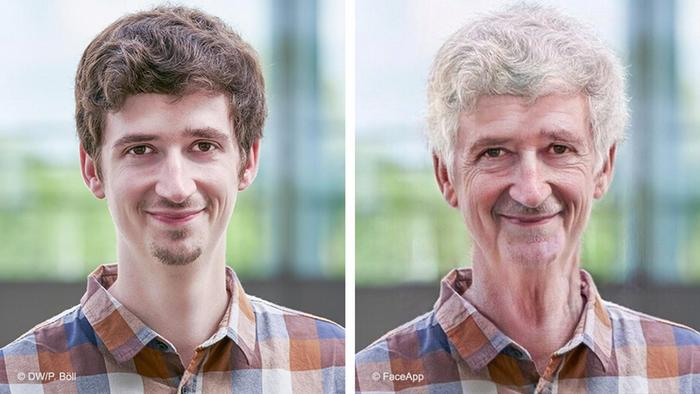 Autor Patrick Grosse e sua versão envelhecida no aplicativo Faceapp