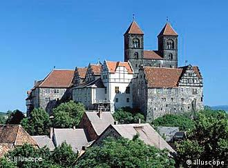 Quedlinburg's castle sits on a sandstone hill