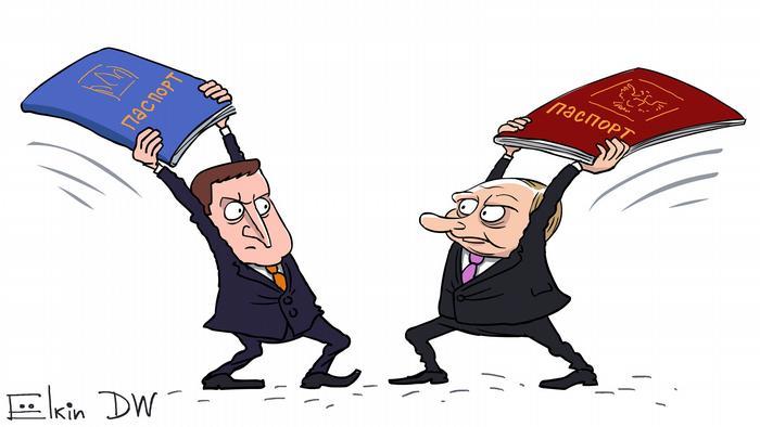 Карикатура Сергія Йоліна: Володимир Зеленський, Володимир Путін, паспорти України та Росії