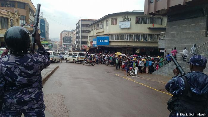 Police stand ready for protesters in Kampala