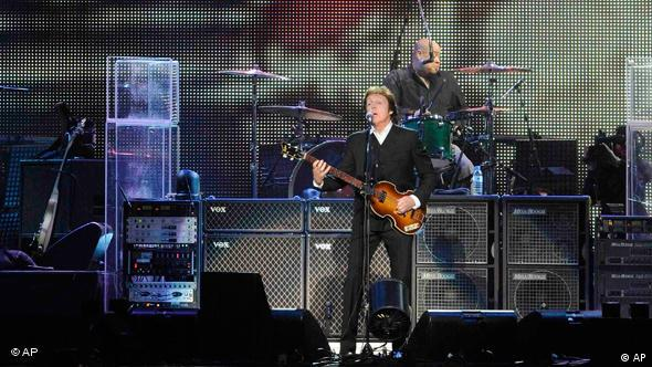 British singer Paul McCartney performs during the opening concert of his Good Evening Europe tour, in Hamburg, Germany, on Wednesday, Dec 2, 2009. (AP Photo/Fabian Bimmer)