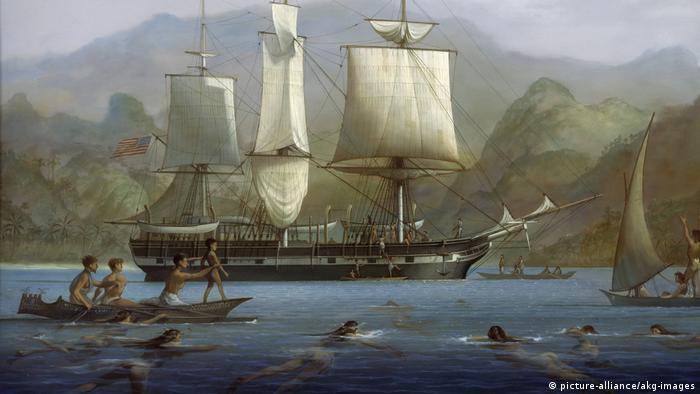 Gemälde von Louis Dodd, das den Walfänger Acushnet vor den Marquesas-Inseln zeigt