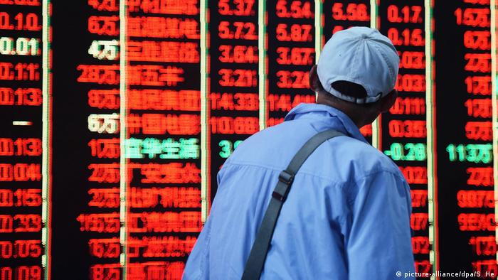 A board at the Shanghai Stock Exchange