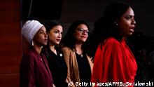 Representatives Ayanna Pressley (D-MA) speaks as, Ilhan Abdullahi Omar (D-MN)(L), Rashida Tlaib (D-MI) (2R), and Alexandria Ocasio-Cortez (D-NY) hold a press conference (Getty Images/AFP/B. Smialowski)