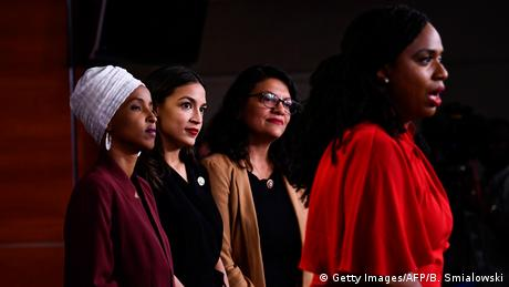 Ayanna Pressley speaks at a press conference on July 15, 2019, accompanied by Ilhan Omar, Alexandria Ocasio-Cortez and Rashida Tlaib.