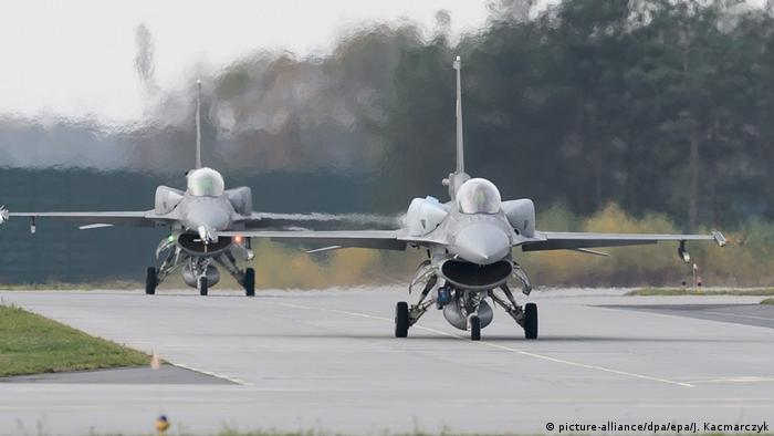 F-16 fighters are seen on a runway during NATO's Steadfast Jazz 2013 excercises