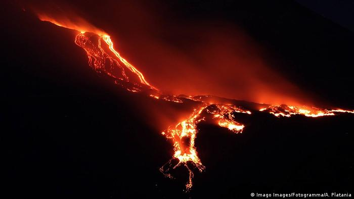 Lava flows on Mount Etna
