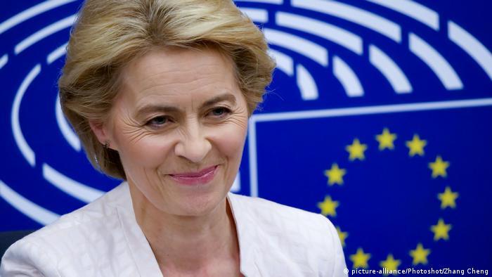 Ursula von der Leyen in front of EU logo