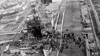 An aerial view of the Chernobyl nuclear power plant, a few days after the explosion