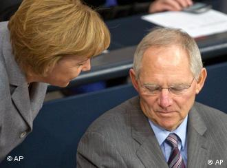 Chancellor Angela Merkel and Finance Minister Wolfgang Schaeuble