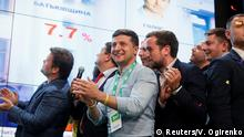 Volodymyr Zelenskiy reacts to election results (Reuters/V. Ogirenko)