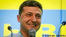 Ukraine's President Volodymyr Zelenskiy speaks at his party's headquarters after a parliamentary election in Kiev, Ukraine July 21, 2019. REUTERS/Valentyn Ogirenko