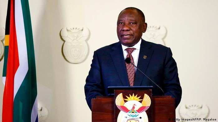 South African President Cyril Ramaphosa at a press conference (Getty Images/AFP/P. Magakoe)