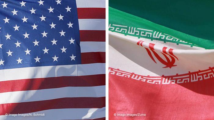 Kombibild   Flagge USA und Iran
