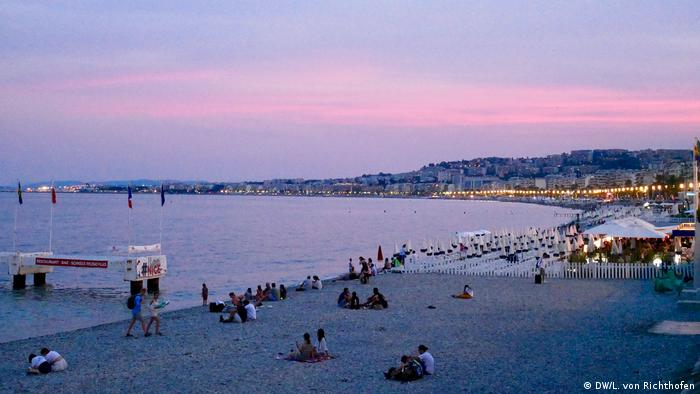 A view of the sea from Nice, France, by night.