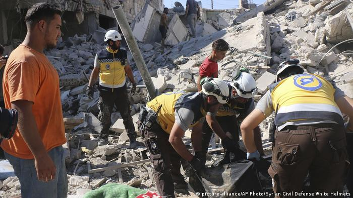Rubble from air strikes in Idlib, Syria