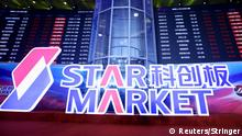 A sign for STAR Market, China's new Nasdaq-style tech board, is seen after the listing ceremony of the first batch of companies at Shanghai Stock Exchange (SSE) in Shanghai, China July 22, 2019. REUTERS/Stringer ATTENTION EDITORS - THIS IMAGE WAS PROVIDED BY A THIRD PARTY. CHINA OUT.