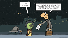 Fernandez cartoon of an alien meeting a bureaucrat