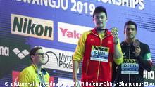 21.07.2019, China: ©/MAXPPP - GWANGJU, SOUTH KOREA - JULY 21: (L - R) Silver medalist Mack Horton of Australia, gold medalist Sun Yang of China and bronze medalist Gabriele Detti of Italy pose during the medal ceremony for Men's 400m Freestyle Final on day one of the Gwangju 2019 FINA World Championships at Nambu International Aquatics Centre on July 21, 2019 in Gwangju, South Korea. (Photo by VCG) Foto: Mijiafeng-China-Shandong-Zibo/MAXPPP/dpa |