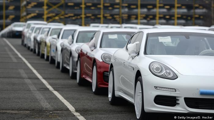 Porsche cars destined for export overseas stand parked and waiting to be loaded onto ships in Bremerhaven, Germany