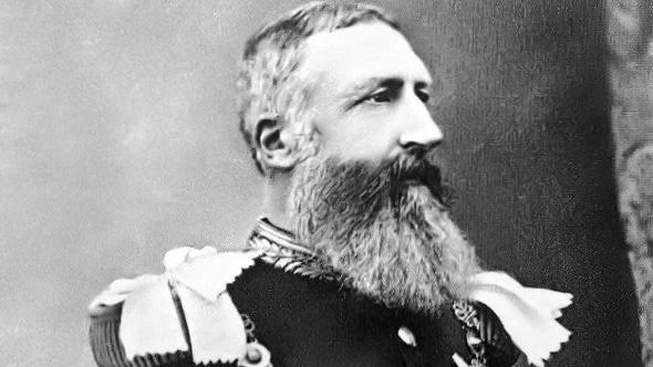A black and white photograph of Leopold II of Belgium