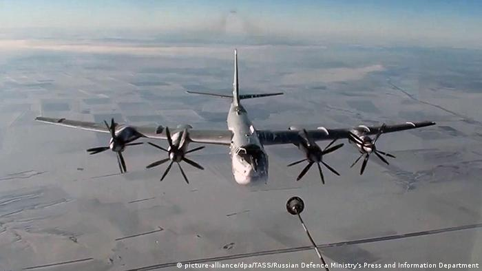 A Tupolev Tu-95MS strategic bomber of the Russian Aerospace Forces on a mission