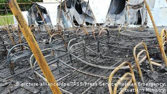 Сгоревшие палатки в лагере Холдоми в Хабаровском крае