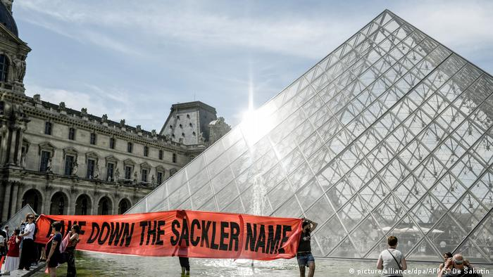 Protest outside Louvre museum