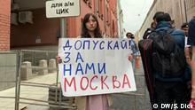 Russland Proteste der russischen Oppositionelle vor dem Gebäude der Wahlkomitee