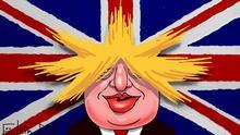 Kariaktur von Sergey Elkin zu Boris Johnson