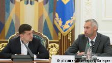 Der ukrainische Präsident Volodymyr Zelensky und Ruslan Ryaboshapka