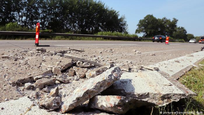 Highway damaged by heat in Germany, pictured on June 30, 2019, during the last major heat wave in the country.