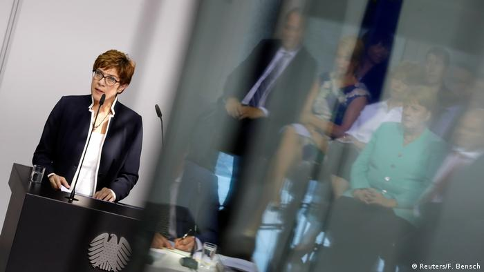 Annegret Kramp-Karrenbauer speaks during her swearing-in as defense minister