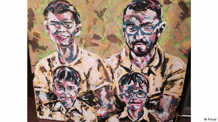 Картина, на которой изображены Ерофеев и Ваганов с детьми