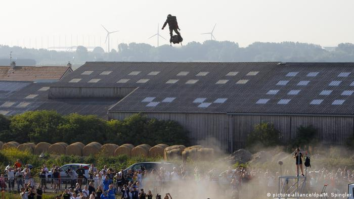 Franky Zapata hovers over a crowd in northwestern France