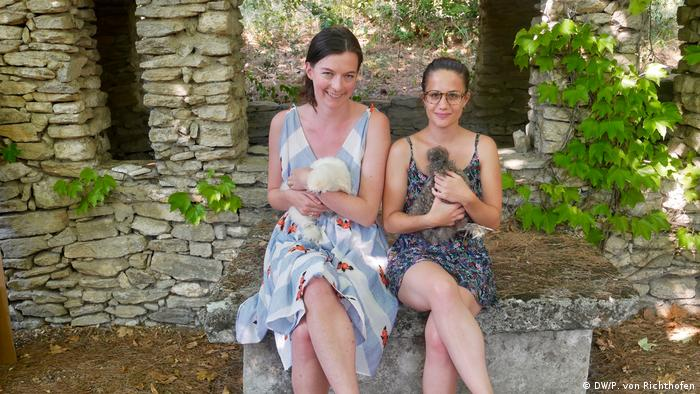 Luisa von Richthofen and Giulia Saudelli with some Silkie chickens during their travels through the Provence region of France.