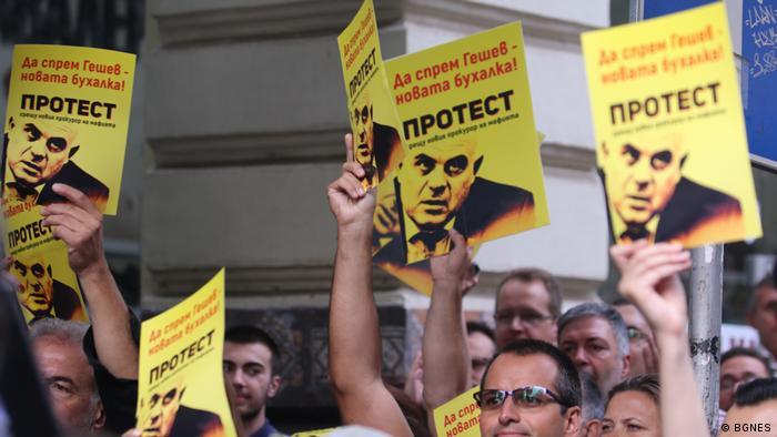 Bulgarien Sofia   Proteste gegen die Nominierung von Ivan Geschev als Staatsanwalt