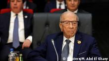 FILE PHOTO: Tunisian President Beji Caid Essebsi attends Arab league and EU summit, in â|