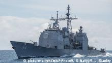 FILE - This March 6, 2016, photo provided by the U.S. Navy, shows the Ticonderoga-class guided-missile cruiser USS Antietam (CG 54) sails in the South China Sea. Taiwan says the U.S. Navy is free to sail through its strait after an American warship did so shortly following warnings from Beijing against foreign interference in its relationship with the island. Commander Clay Doss, a spokesman for the U.S. Navy's Seventh Fleet, said the USS Antietam conducted a routine Taiwan Strait transit Wednesday to Thursday in accordance with international law. (Mass Communication Specialist 2nd Class Marcus L. Stanley/U.S. Navy via AP, File) |