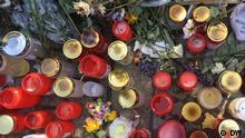 Kerzen am Bahnhof Voerde für ermordete Anja N.