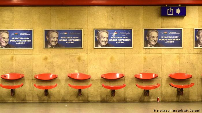 Placards with George Soros in a Bundapest metro station