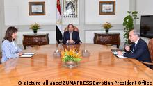 July 11, 2016 - Cairo, Cairo, Egypt - Egyptian President Abdel Fattah al-Sisi meets with the minister of immigration and Expatriates Nabila Makram, in Cairo, Egypt, on July 11, 2016 |