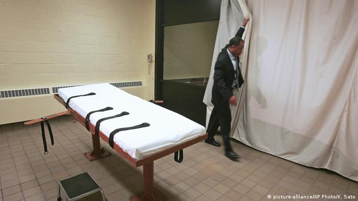 A lethal injection table is shown in an Ohio prison where executions are carried out