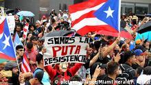 Puerto Rico Demonstration nach angekündigtem Rücktritt von Gouverneur Ricardo Rossello