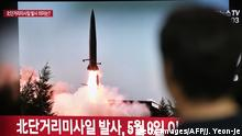 Südkorea TV Bild Raktentest Nordkorea